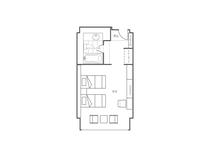 松林側洋室ツインベッドルーム間取りイメージ