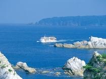 国の名勝「浄土ヶ浜」から出航する「みやこ浄土ヶ浜遊覧船」(宮古)