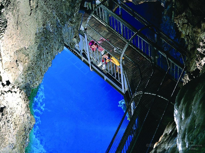 ホテルから車で約45分、名水百選のひとつに選定された地底湖の鍾乳洞「龍泉洞」(岩泉)