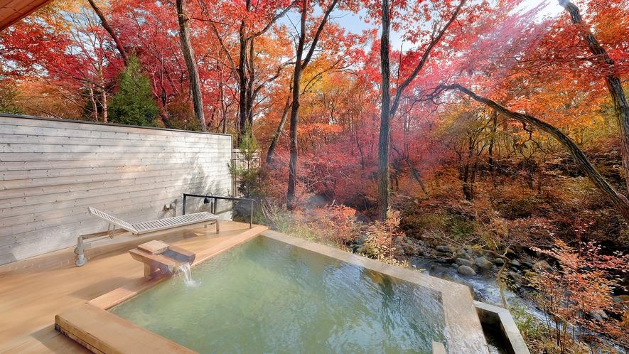 渓流露天風呂 秋の「川の湯 しかく」