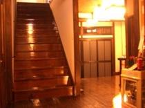 階段とふろんと オレンジ 夜