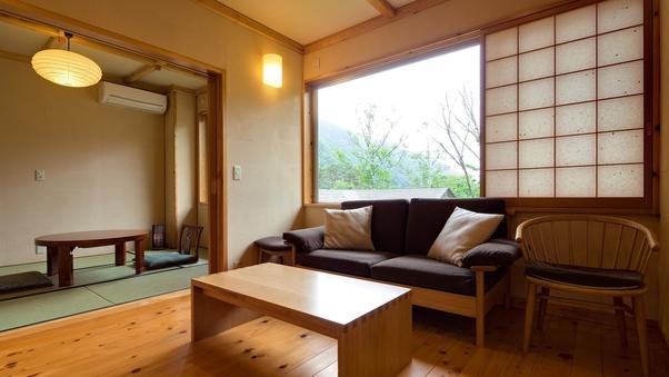 【禁煙】半露天風呂付き+洋式ベッドの和洋室(46平米)
