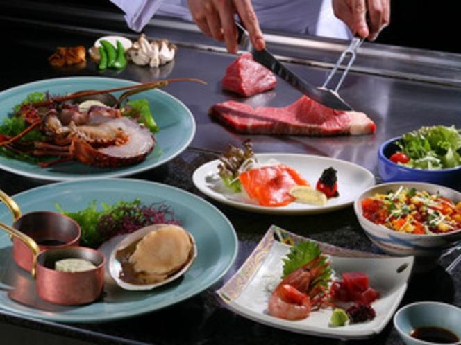 【新館1階ステーキ&しゃぶしゃぶ ふじた】美味しいお肉の鉄板焼を味わって!!