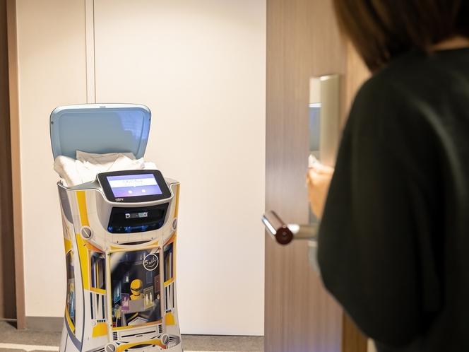【デリバリーロボットS-mile】到着したらお部屋の電話でお知らせするので、ドアを開けてください。