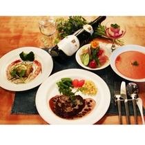 【夕食一例】自家製ハーブを使った和洋折衷のコースディナーでおもてなし♪
