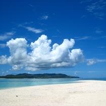浜から島を見る