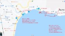 「宇佐美海水浴場マップ」駐車場、トイレ、レストラン、一部シャワーもあります
