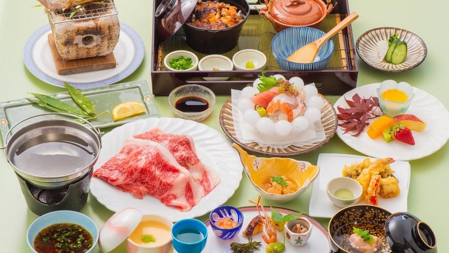 国産黒毛和牛しゃぶしゃぶ、日田名物鰻のせいろ蒸しなど『極上会席』※料理イメージ