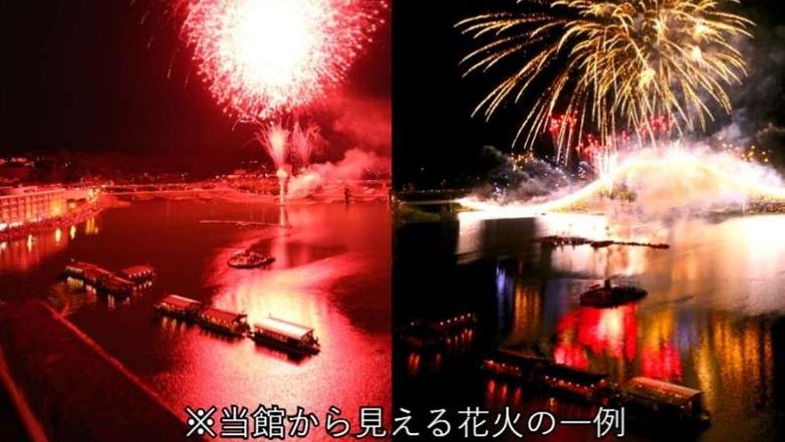 日田川開き観光祭 大花火大会 当館から見える花火の一例