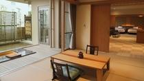 【別館1F貸切特別室「太閤」140平米】お部屋全景 和室からベッドルームまで