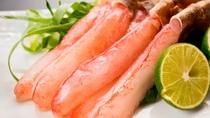 【冬期限定・蟹づくし会席一例】蟹しゃぶ・新鮮な蟹でしか提供できない蟹しゃぶ。