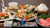 【夕食一例】冬は1年で一番豪華な食材をご提供!その日の市場で新鮮な冬の魚介が献立に入ります。