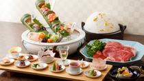 【夕食一例】名物雲海鍋をメインに旬食材や季節先取の食材を華やかな盛り付けでご提供いたします。