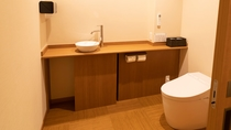 【別館1F貸切特別室「太閤」140平米】車いすでもお入りいただける広さのユニバーサルトイレ