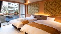 【別館1F貸切特別室「太閤」140平米】ベッドルーム・窓の外にはテラスがございます