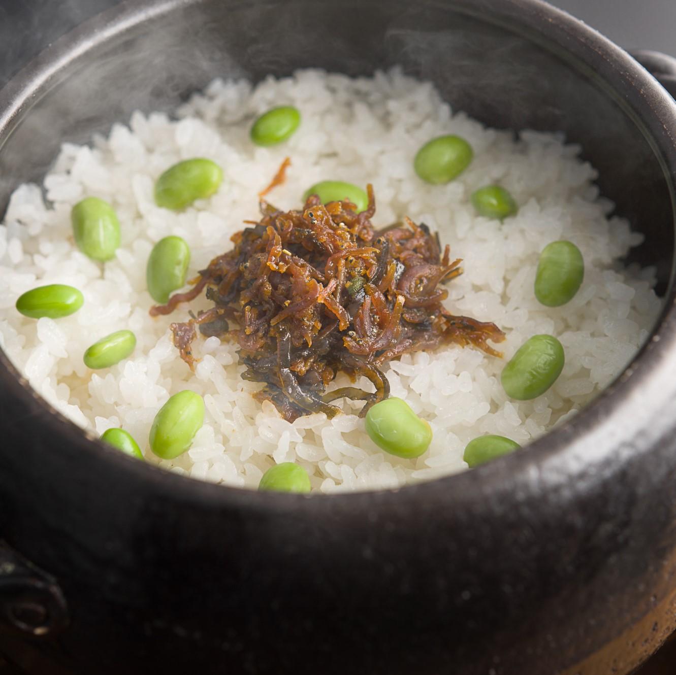 夏味覚 じゃこ山椒炊きとはじき枝豆土鍋炊きご飯
