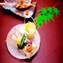 《夏献立・一例》 前菜 オードブル盛り合わせ 西山温泉ならではの1品