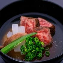 日本海会席【食  事】 鳥取和牛「オレイン55」味噌スープ 島根県産仁多米コシヒカリ