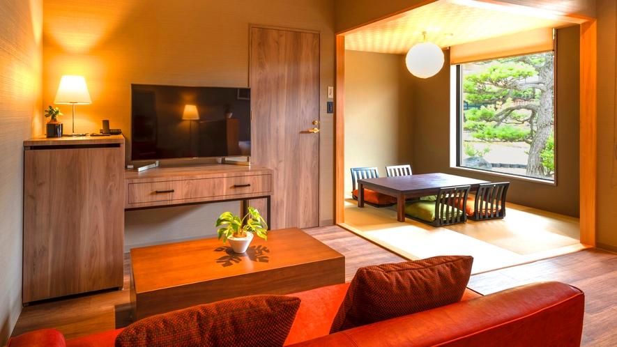 【天然温泉露天風呂付き】特別和洋室は和モダンで落ち着きのあるのお部屋。