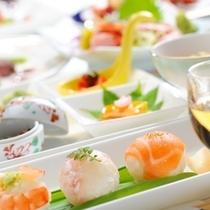 【旬彩和膳】前菜一例・季節に合わせた色とりどりの料理