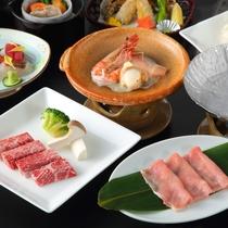 【カップルプラン例】メインを「蔵王牛」or「米の娘豚」or「海鮮の陶板焼き」からお一人様ずつ選択OK
