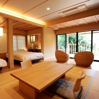 箱根外輪山を望む露天風呂付和洋室「高圓」(70平米)