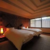【客室E1タイプ「茜」】 寝心地のいいツインベッドのお部屋で、ぐっすり快眠。