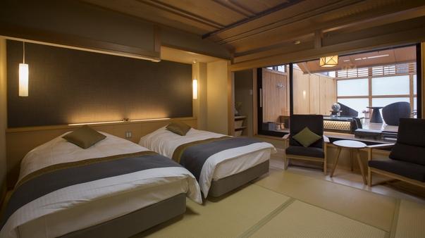 【新館・禁煙】ベッド+露天風呂+バルコニー(ダイニング食)