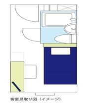 【シングルルーム&セミダブルルーム】見取り図