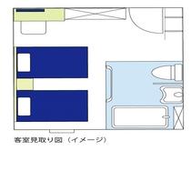 【ユニバーサルツインルーム】見取り図