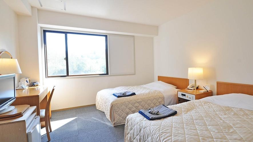 【客室/ツイン】ベッドは広めのセミダブルサイズです。