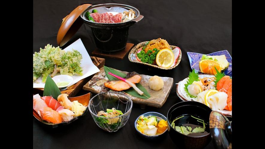 【夕食一例/スタンダードプラン】枝幸・歌登が誇る海の幸・山の幸をお楽しみください。