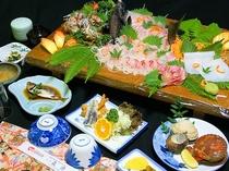 漁師盛御膳(サザエ・姿造り付き)7560円コース