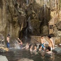 混浴露天温泉で家族で入れるのが嬉しい♪