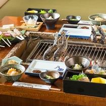 【白山炭火焼コース】夕食5.0pt獲得!脂ののった川魚、地元野菜や名産堅豆腐を豪快に炭火で焼き上げて
