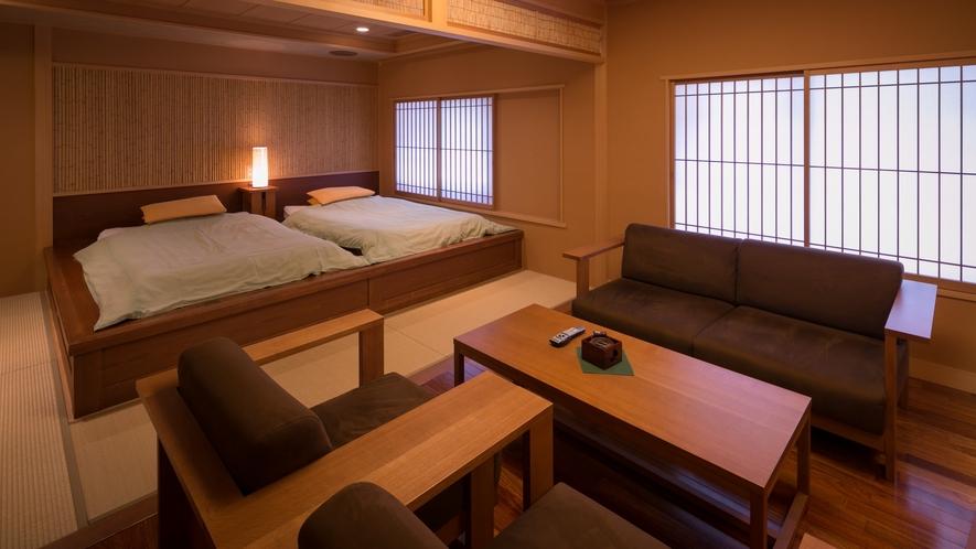 ・萩・源泉かけ流し絶景露天風呂付き≪特別客室≫畳ベッド、リビング付きのお部屋