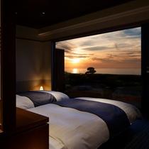 【特別室 奏水(かなみ)の間 水ノ綾】朝・夕の空の色は格別です