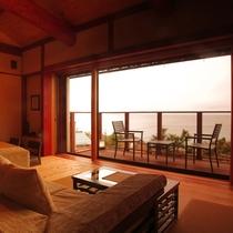 【離れ 海鈴】力強い梁が支える高天井と、郷土建築の技法を用いた限定一室のお部屋です