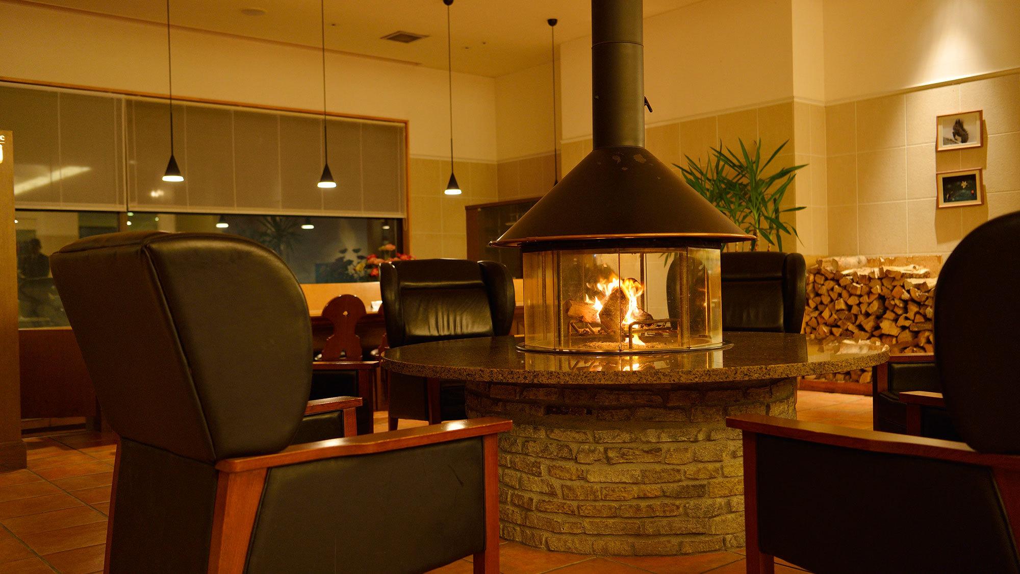 【ロビー】〜冬期のみ〜暖炉を囲んで癒しのひとときを