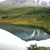 姿見の池に映る旭岳 旭岳ロープウェイ下車後、散策路の途中に姿見の池があります。