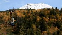 紅葉の中雪景色の旭岳に向かうロープウェイ