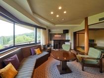 ベッドルームと6畳の和室、リビングルームのある広々としたゲストルームは55平米以上