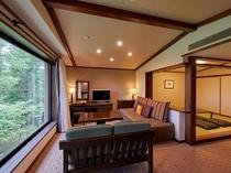 リビングと6畳の和室のある45平米のゲストルーム