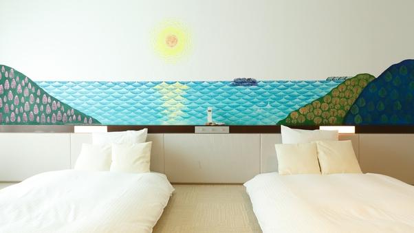 【壁紙アート】大型温泉浴槽付/広々73平米【眺望窓なし】