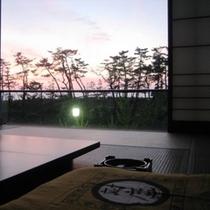 客室からの夕日
