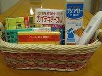 【常備薬】フロントでは急なお怪我・体調不良の際にご活用いただける常備薬をご用意しております。