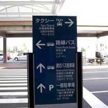 ①南ぬ島石垣空港の正面玄関を出て、案内板を左に曲がります。