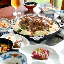 健康と美容によいジンギスカンがメインの夕食