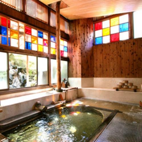 源泉かけ流しの浴室