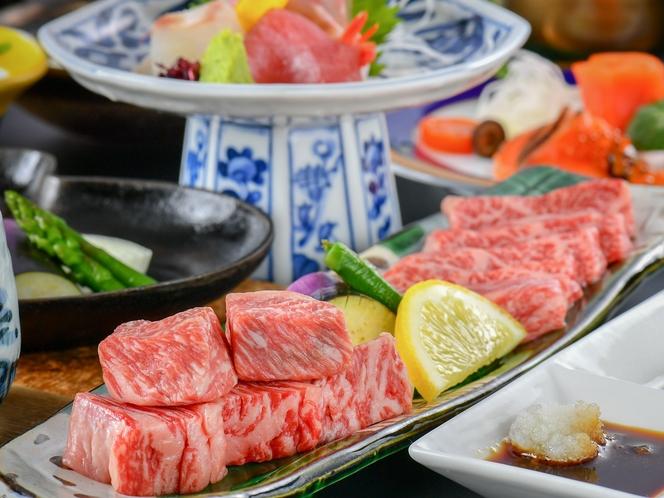 【特選和牛サイコロステーキ会席】もも肉とサーロインを合わせてお一人様150gをご用意!贅沢に食べ比べ